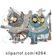 Civil War Soldiers And Horse Armed With A Cannon And Rifles