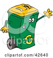 Clipart Illustration Of A Waving Friendly Green Recycle Bin With A Yellow Lid