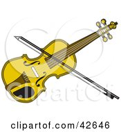 Clipart Illustration Of A Bow Resting On A Yellow Fiddle by Dennis Holmes Designs