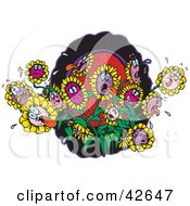 Clipart Illustration Of A Group Of Hot Thirsty Flowers Struggling In A Hot Garden