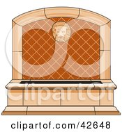 Clipart Illustration Of A Stone Lion Water Fountain In A Garden