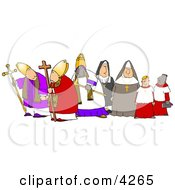 Group Of Religious Nuns And Bishops Clipart