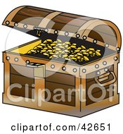 Clipart Illustration Of A Wooden Treasure Chest Slightly Open To Display Gold Coins