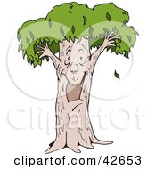 Clipart Illustration Of An Excited Tree Man Smiling