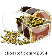 Clipart Illustration Of An Open Treasure Chest With Coins Spilling Out