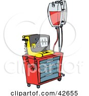 Clipart Illustration Of A Red And Yellow Medical Rash Cart With Intravenous Fluids