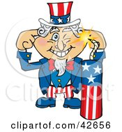 Clipart Illustration Of Uncle Sam Plugging His Ears And Lighting Fireworks by Dennis Holmes Designs