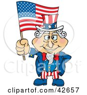 Clipart Illustration Of Uncle Sam Holding Up An American Flag In The Wind
