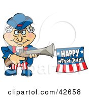 Clipart Illustration Of Uncle Sam Shooting An Independence Day Flag Out Of A Gun