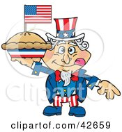 Uncle Sam Holding Up An Apple Pie With An American Flag On Top