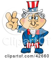 Clipart Illustration Of Uncle Sam With One Hand Behind His Back Gesturing The Peace Sign by Dennis Holmes Designs