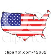 Clipart Illustration Of A Map Of The Continental United States With A Stars And Stripes Pattern
