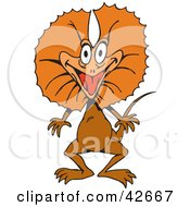 Clipart Illustration Of A Happy Orange Frilled Lizard