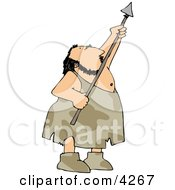 Hunting Caveman Aiming His Spear Upwards Clipart