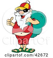 Clipart Illustration Of Santa Dressed In Relaxed Clothes And Sunglasses Carrying His Sack On His Shoulder