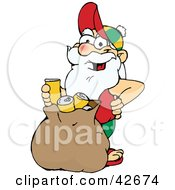 Clipart Illustration Of A Casual Santa Standing With A Sack Full Of Tin Cans For Recycling by Dennis Holmes Designs