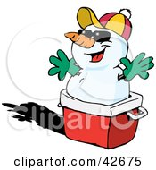 Clipart Illustration Of A Snowman Resting On A Red Ice Chest