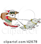 Clipart Illustration Of Santa Carrying His Sack While Surfing And Holding Reins To Dolphins