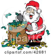 Clipart Illustration Of Santa With A Sack Full Of Donated Cash And Coins by Dennis Holmes Designs