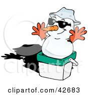 Clipart Illustration Of A Snowman Wearing Gloves And Resting On An Ice Chest