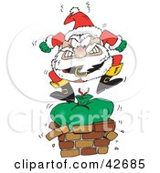 Clipart Illustration Of Santa Claus Angrily Stomping On His Toy Sack To Squish It Down The Chimney by Dennis Holmes Designs