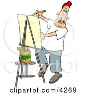Artist Drawing Caricature On Posterboard Clipart