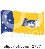 Clipart Illustration Of A Blue Yellow And White Waving Flag Of The Australian Capital Territory