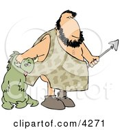 Caveman Carrying Dead Dinosaur Clipart