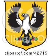 Clipart Illustration Of A Yellow Australian Piping Shrike Coat Of Arms by Dennis Holmes Designs