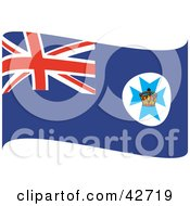 Clipart Illustration Of A Blue Waving Queensland Flag With A Crown On The Maltese Cross