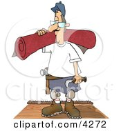 Floor Man Installing New Carpet In A House Clipart Illustration