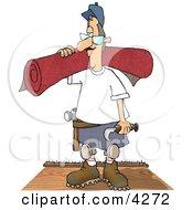 Floor Man Installing New Carpet In A House Clipart Illustration