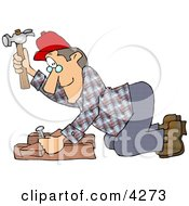 Male Carpenter Hammering A Nail Through Wood Beams Clipart