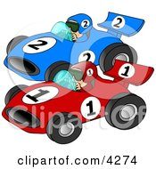 Cars Racing Each Other Down A Speedway Clipart