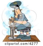 Ship Captain Navigating His Vessel Clipart