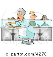 Cafeteria Lady Preparing Plates Of Food For School Children Waiting In Line Clipart