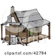 Clipart Illustration Of A Brown One Story Home by Dennis Holmes Designs