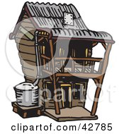 Clipart Illustration Of A Two Story Wooden House by Dennis Holmes Designs