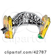 Clipart Illustration Of The Arched Harbour Bridge In Sydney Australia by Dennis Holmes Designs
