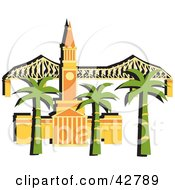 Clipart Illustration Of Palm Trees In Front Of The Brisbane City Hall And The Story Bridge In Australia by Dennis Holmes Designs