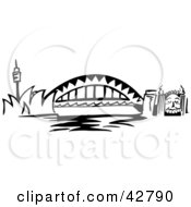 Clipart Illustration Of The Arched Sydney Harbour Bridge Australia by Dennis Holmes Designs