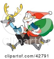 Clipart Illustration Of Santa Riding An Emu With Antlers
