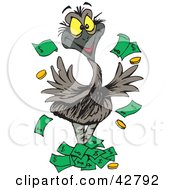 Clipart Illustration Of A Wealthy Emu Bird Tossing Money Into The Air