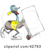 Clipart Illustration Of A Happy Emu Using A Dolly To Move A Blank Sign Or A Fridge