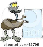 Clipart Illustration Of A Friendly Emu Holding A Marker And A Blank Sign