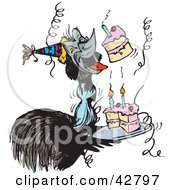 Clipart Illustration Of An Emu Bird Singing Happy Birthday And Holding A Cake At A Party