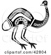 Clipart Illustration Of A Black And White Aboriginal Emu Bird by Dennis Holmes Designs