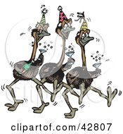 Clipart Illustration Of Three Emus Dancing Drinking Champagne And Wearing Party Hats At A New Years Eve Party