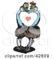 Clipart Illustration Of A Passionate Emu Couple Smooching Around A Heart by Dennis Holmes Designs