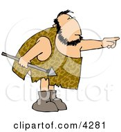 Caveman Holding A Spear And Pointing His Finger At Something Clipart
